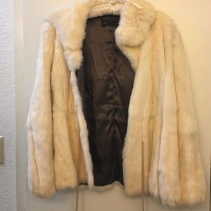 Jacques Saint Laurent vintage white fur coat